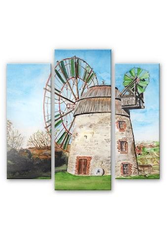 Wall-Art Mehrteilige Bilder »Holland Windmühle (3-teilig)«, (Set, 3 St.) kaufen