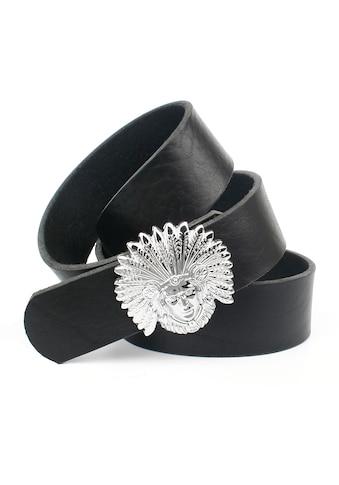 Anthoni Crown Ledergürtel, genarbt, Schließe mit Indianerkopf kaufen