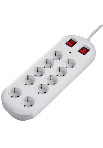 Hama Mehrfachsteckdose Steckdosenleiste 10 - fach, 2 Schalter, 2m »schaltbar, Weiß« kaufen