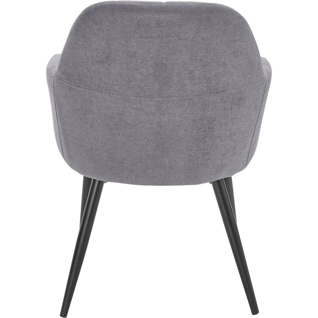 Armlehnstuhl »Mara«, (1 oder 2 Stück), Bezug in Webstoff, Gestell aus Metall in schwarz