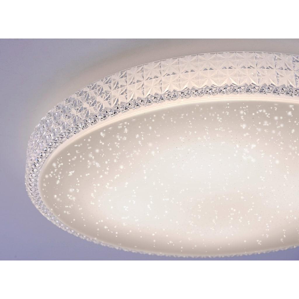 Leuchten Direkt Deckenleuchte »FRIDA«, LED-Board, Warmweiß-Neutralweiß-Tageslichtweiß, 3-Stufen CCT - Farbtemperaturregelung (3000K/4000K/5000K), Dimmbar über Wandschalter, Sternenhimmeloptik, Memoryfunktion, Ø 60 cm