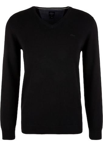 s.Oliver V-Ausschnitt-Pullover, Unifarben kaufen