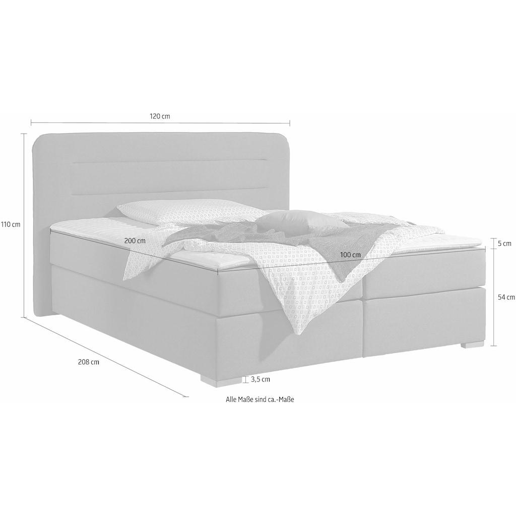 Home affaire Boxspringbett »Manchester«, 5 Breiten, 3 Ausführungen, 2 Härtegraden, Topper, Steppung