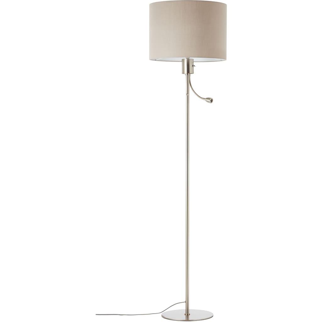 Lüttenhütt LED Stehlampe »Lüchte«, E27, Stehleuchte mit Stoffschirm greige Ø 38 cm und flexiblem Lesearm, Leselicht und Hauptlicht getrennt schaltbar, Höhe 169 cm