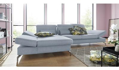 sit&more Ecksofa, Fußhöhe 12 cm, inklusive Sitztiefen-, Armteil- und Kopfteilverstellung kaufen