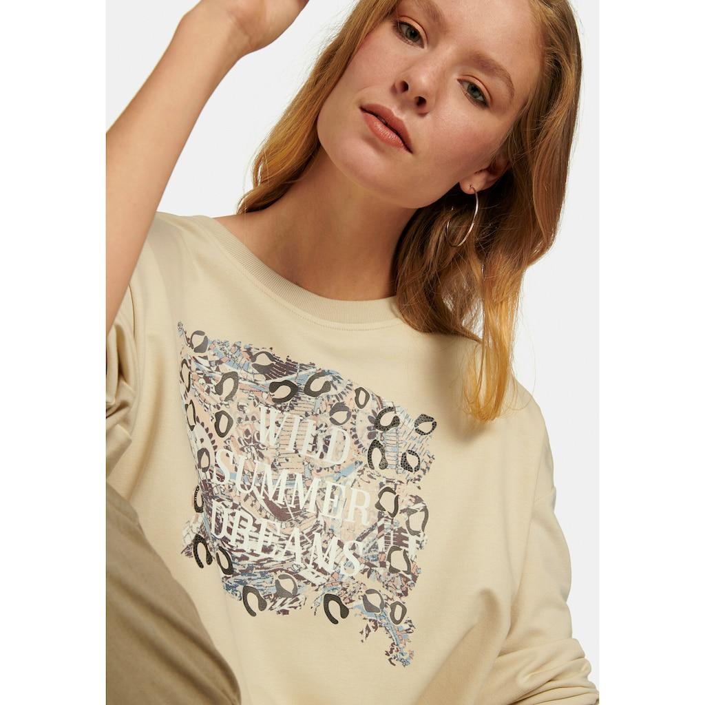MYBC Sweatshirt »mit überschnittener Schulter«, mit Front-Print