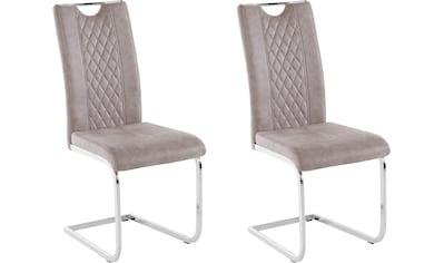 Leonique Esszimmerstuhl »Leilah«, 2er Set, mit edlen chromfarbenen Metallgestell in der Freischwinger Optik, in zwei verschiedenen Farbvarianten, Sitzhöhe 46 cm kaufen