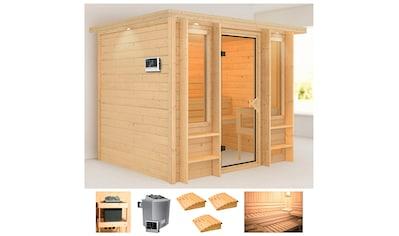 KARIBU Sauna »Ilona«, 259x210x206 cm, 9 kW Ofen mit ext. Steuerung, Dachkranz kaufen