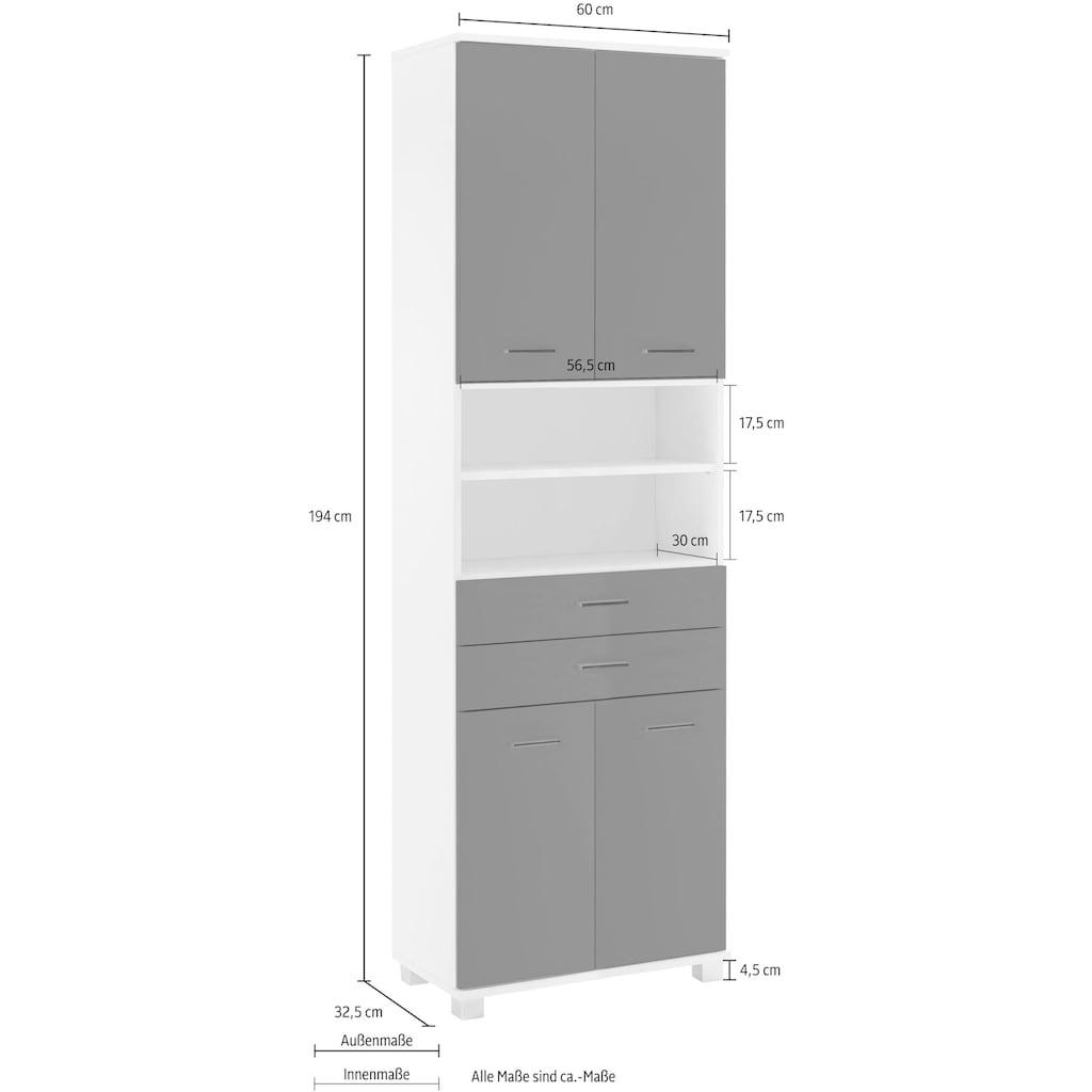 Schildmeyer Hochschrank »Lumo«, Breite 60 cm, mit 4 Türen, 2 Schubladen & 2 offenen Fächern