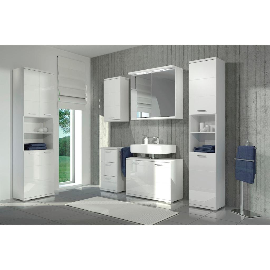Homexperts Hochschrank »Nusa«, Breite 50 cm, Badezimmerschrank mit Metallgriffen, viel Stauraum hinter den Türen und in 2 offenen Fächern, MDF-Front in Hochglanz-Optik