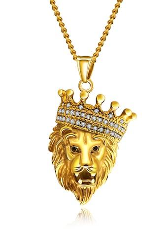 Firetti Kette mit Anhänger »Löwe, strukturiert«, mit Zirkonia (synth.) kaufen