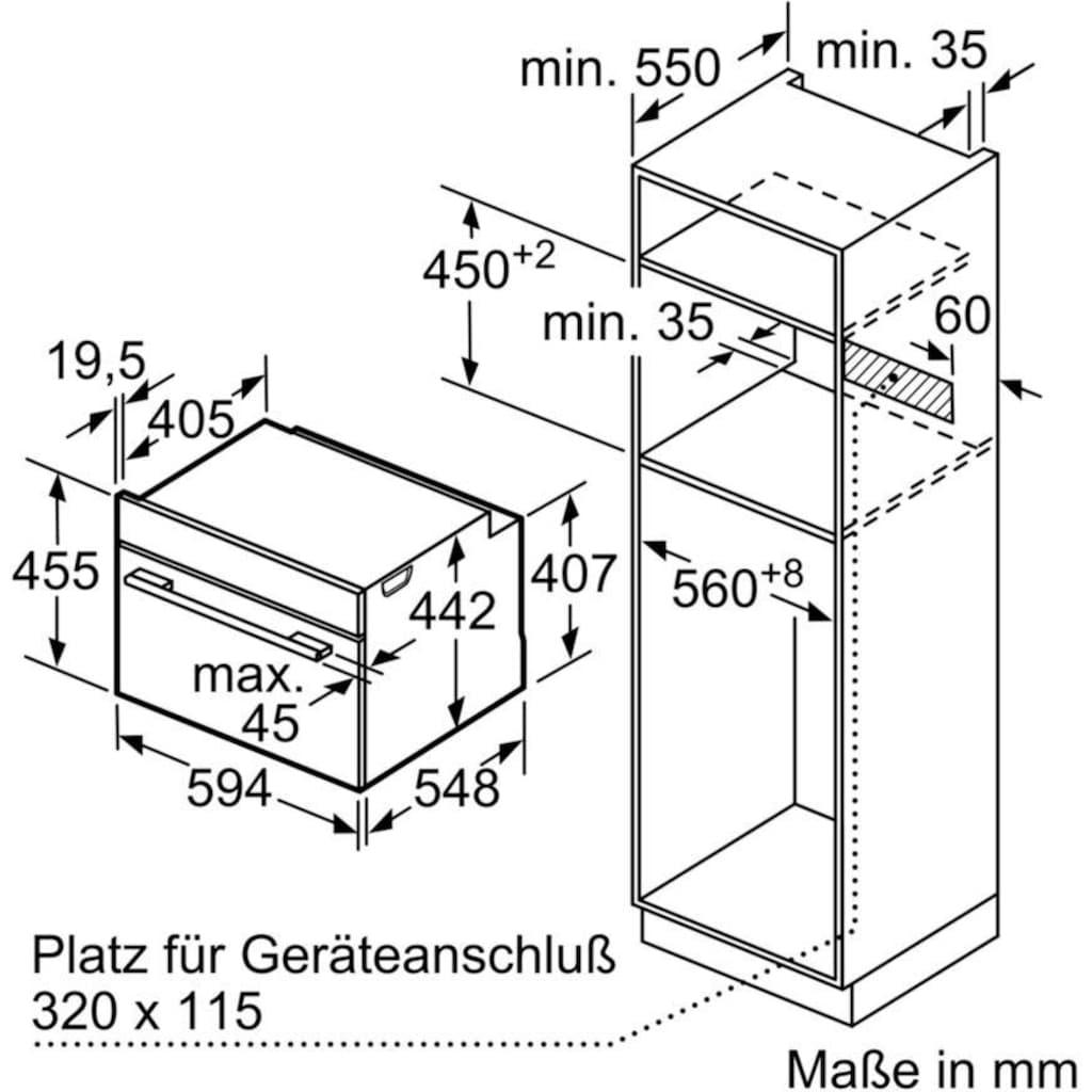 BOSCH Dampfbackofen »CSG636BS3«, 8, CSG636BS3, mit Teleskopauszug nachrüstbar, ecoClean Direct, mit softClose