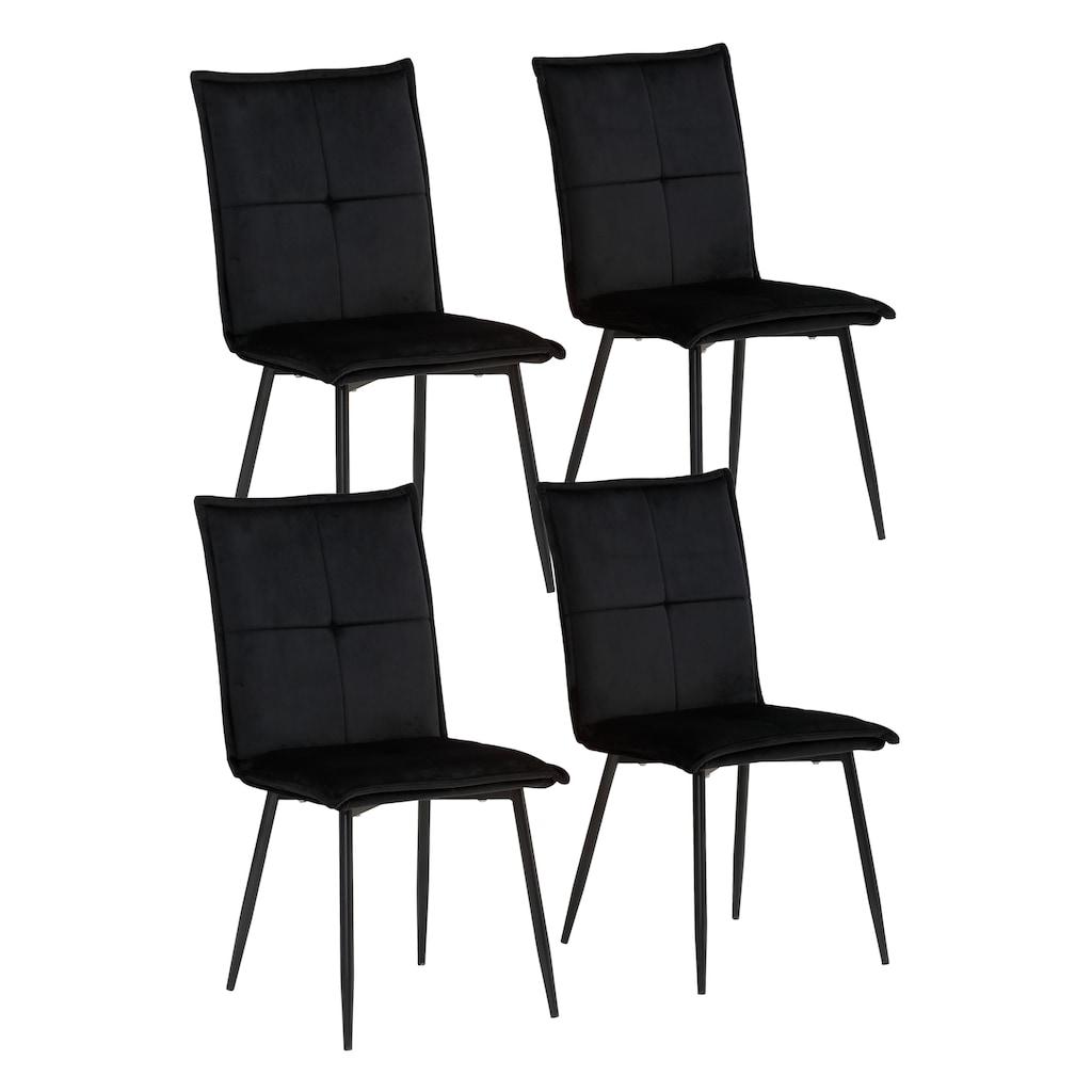 my home Esszimmerstuhl »Meila«, 2er Set, mit einem schönen pflegeleichtem Samtvelours Bezug und schwarzen Metallbeinen
