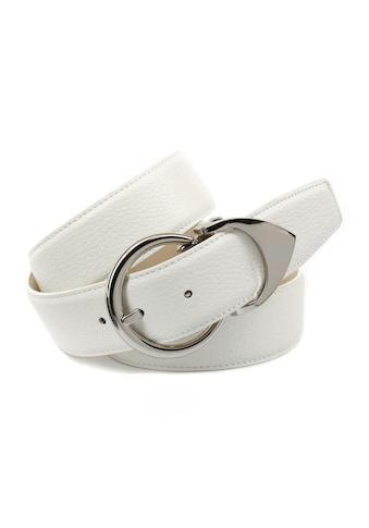 Anthoni Crown Ledergürtel, mit runder silberfarbener Schließe, dekorative Metallschlaufe kaufen