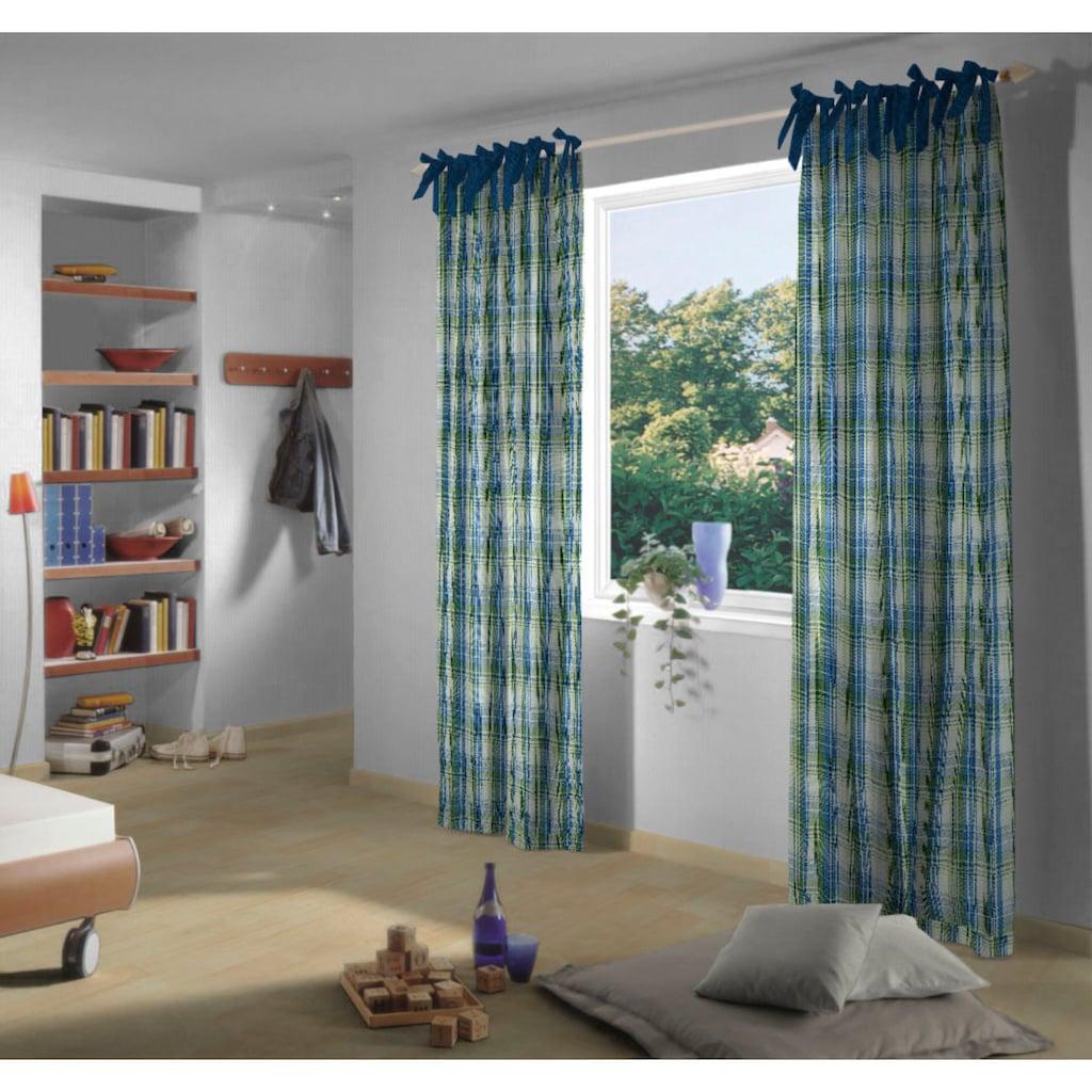 VHG Vorhang »Lene«, Leinenoptik, Karo, skandinavisch