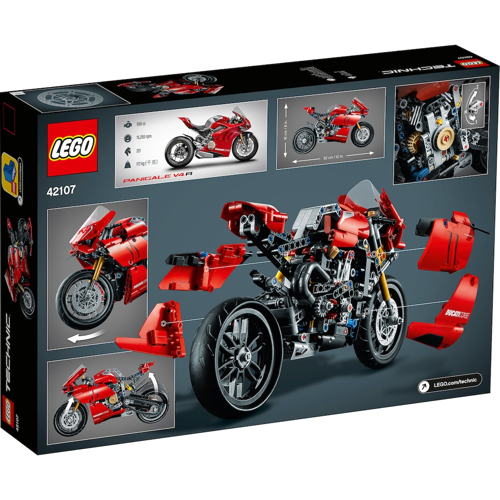 LEGO® Konstruktionsspielsteine »Ducati Panigale V4 R (42107), LEGO® Technic«, (646 St.), Made in Europe