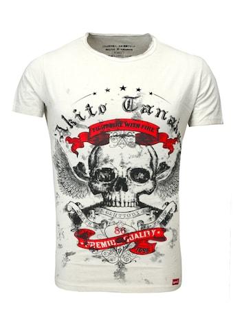 Akito Tanaka Print-Shirt »Skull Fly«, im Used Look mit Print kaufen