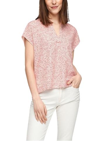 s.Oliver V-Shirt, mit Allover Print vorne und schönem V-Ausschnitt kaufen