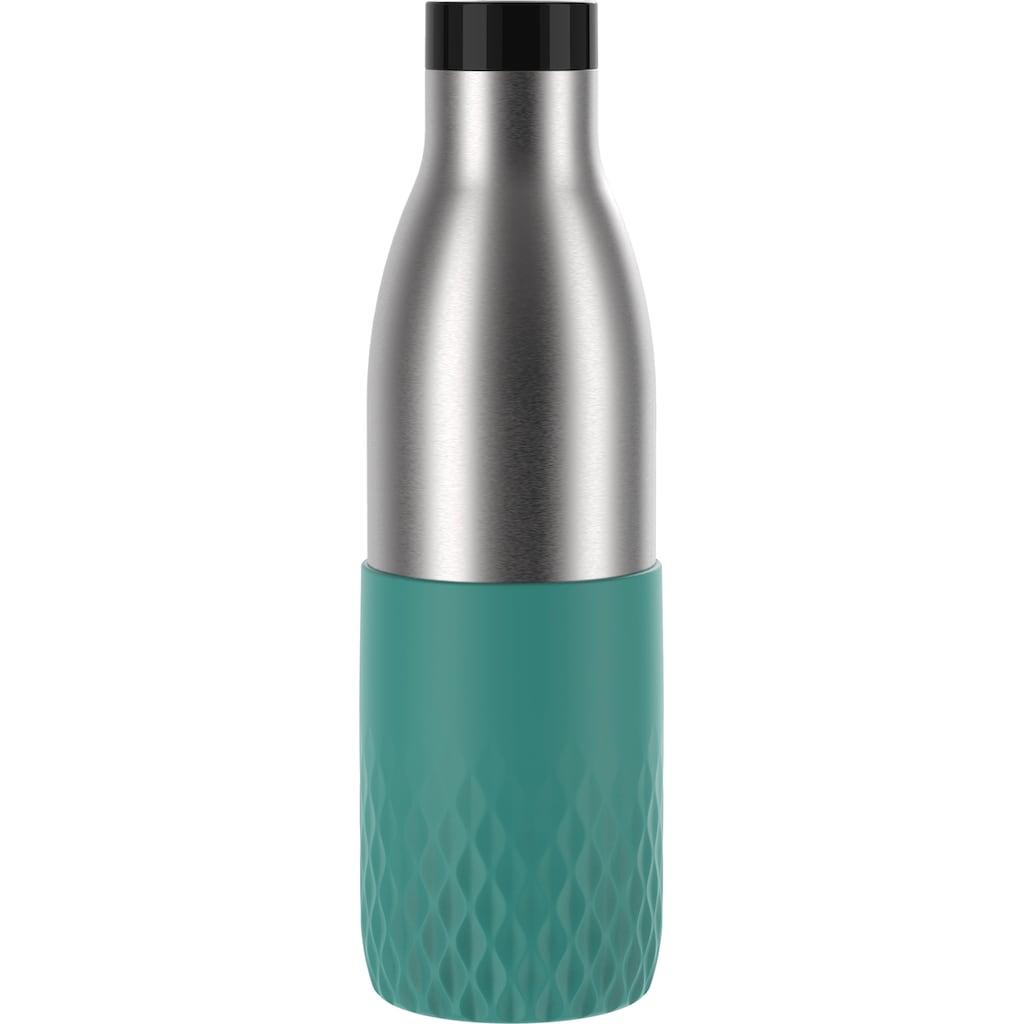 Emsa Trinkflasche »Bludrop Sleeve«, (1 tlg.), nachhaltig, wiederverwendbar, Flasche aus Edelstahl, Manschette aus Silikon, Quick-Press Verschluss, ergonomischer 360° Trinkgenuss, 12h warm 24h kühl, Deckel spülmaschinenfest, auslaufsicher