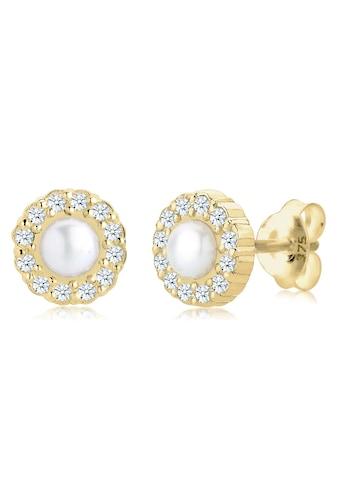 Elli Paar Ohrstecker »Diamant (0.12 ct) Zuchtperle Elegant 375 Gelbgold« kaufen
