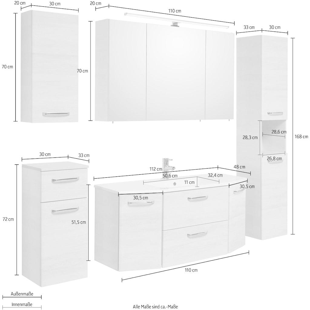 PELIPAL Badmöbel-Set »Quickset 936«, (Set, 5 St.), Spiegelschrank inkl. LED-Beleuchtung, Waschtisch-Kombination mit Mineralgussbecken, Metallgriffe, Türdämpfer