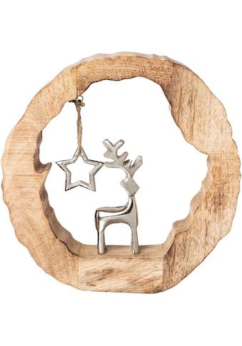 Dekoobjekt »Holzstamm mit Hirsch und Stern«, Höhe ca. 28 cm kaufen
