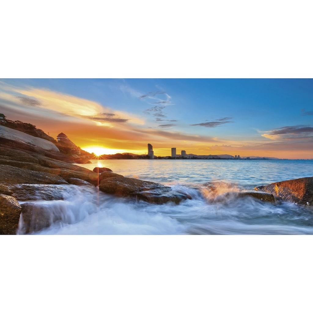 Home affaire Glasbild »Palo ok: Sonnenuntergangszeit am Hua-Hin Strand in Thailand«, 100/50 cm