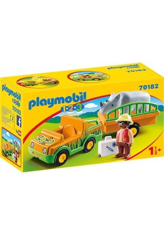 Playmobil® Konstruktions-Spielset »Zoofahrzeug mit Nashorn (70182), Playmobil 1-2-3«,... kaufen
