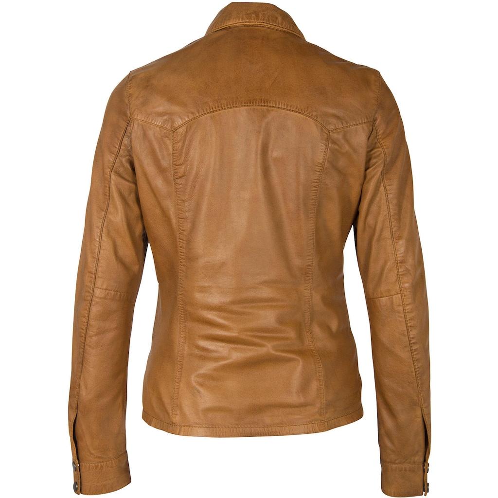 Gipsy Hemdbluse, aus softem Lammnappaleder im Jeanshemd-Style