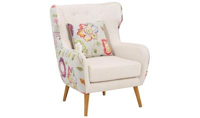 Home affaire Ohrensessel »Missouri«, zweifarbig mit tollem Blumenmuster, bequeme Sitzpolsterung, Sitzhöhe 47 cm kaufen