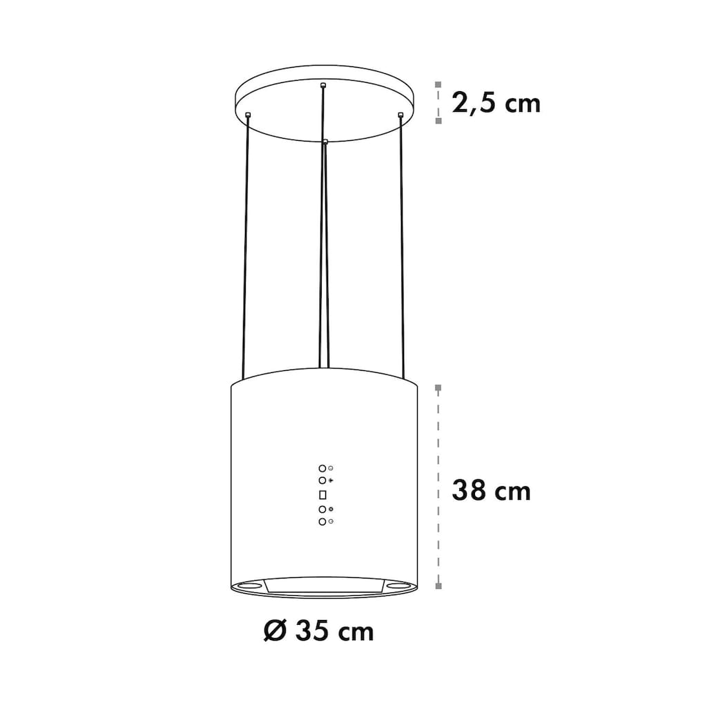 Klarstein Inselabzugshaube Ø35cm Umluft 560m³/h LED Aktivkohlefilter