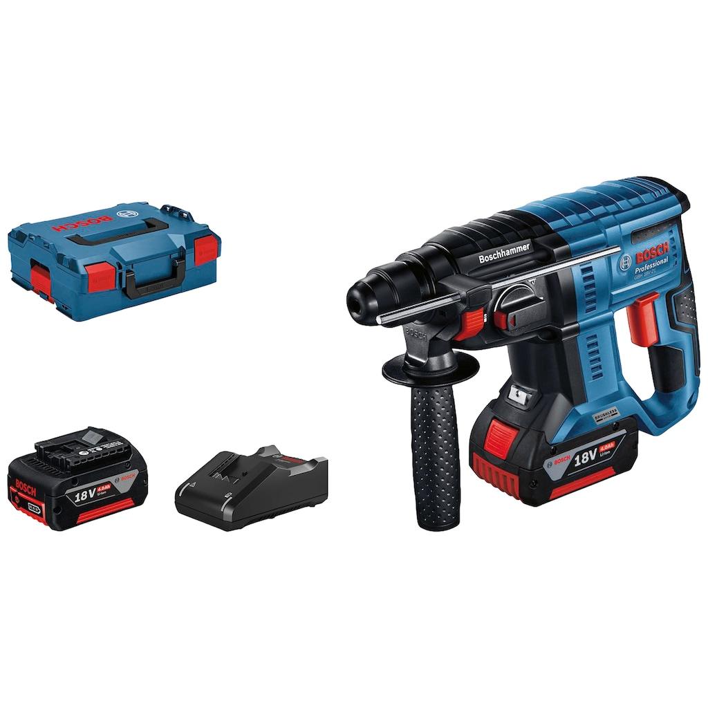 Bosch Professional Akku-Bohrhammer »GBH 18V-21 Professional«, (Set), kabelloser Komfort und bürstenlose Leistung, inkl. 2 Akkus und Ladegerät