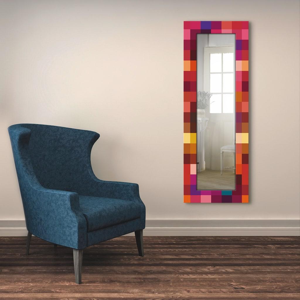 Artland Wandspiegel »Patchwork rot«, gerahmter Ganzkörperspiegel mit Motivrahmen, geeignet für kleinen, schmalen Flur, Flurspiegel, Mirror Spiegel gerahmt zum Aufhängen