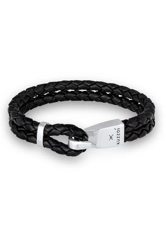 Kuzzoi Armband »Herren Leder Haken-Verschluß Maritim 925 Silber« kaufen