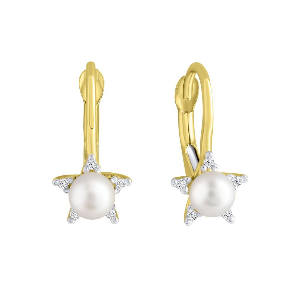 Firetti Paar Ohrhänger »Sonne«, mit Zirkonia (synth.) - mit Süßwasserzuchtperle