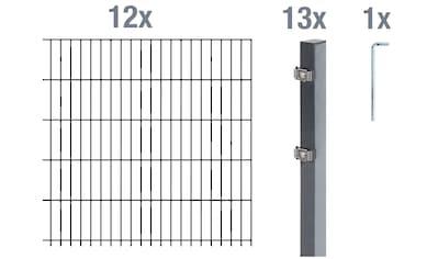 GAH Alberts Doppelstabmattenzaun, 120 cm hoch, 12 Matten für 24 m, 13 Pfosten kaufen