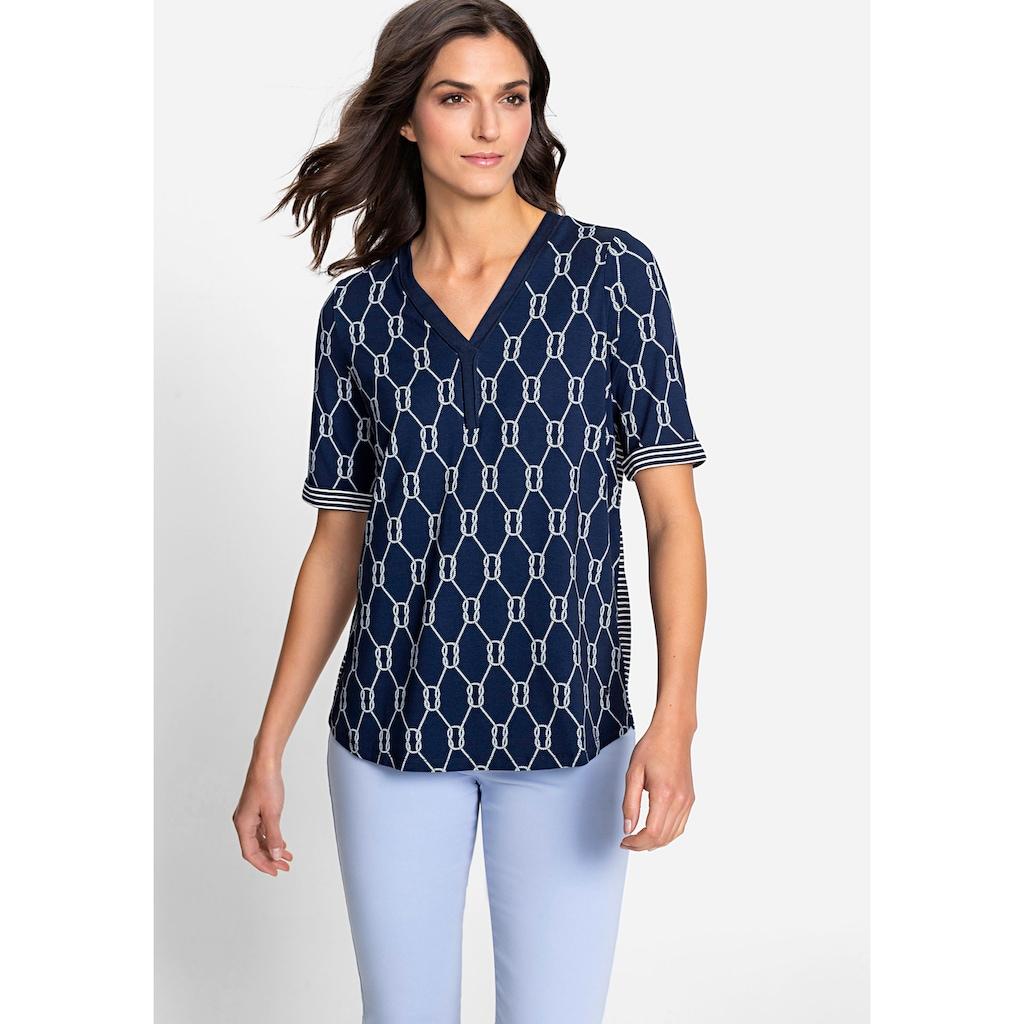 Olsen V-Shirt, mit maritimem Print