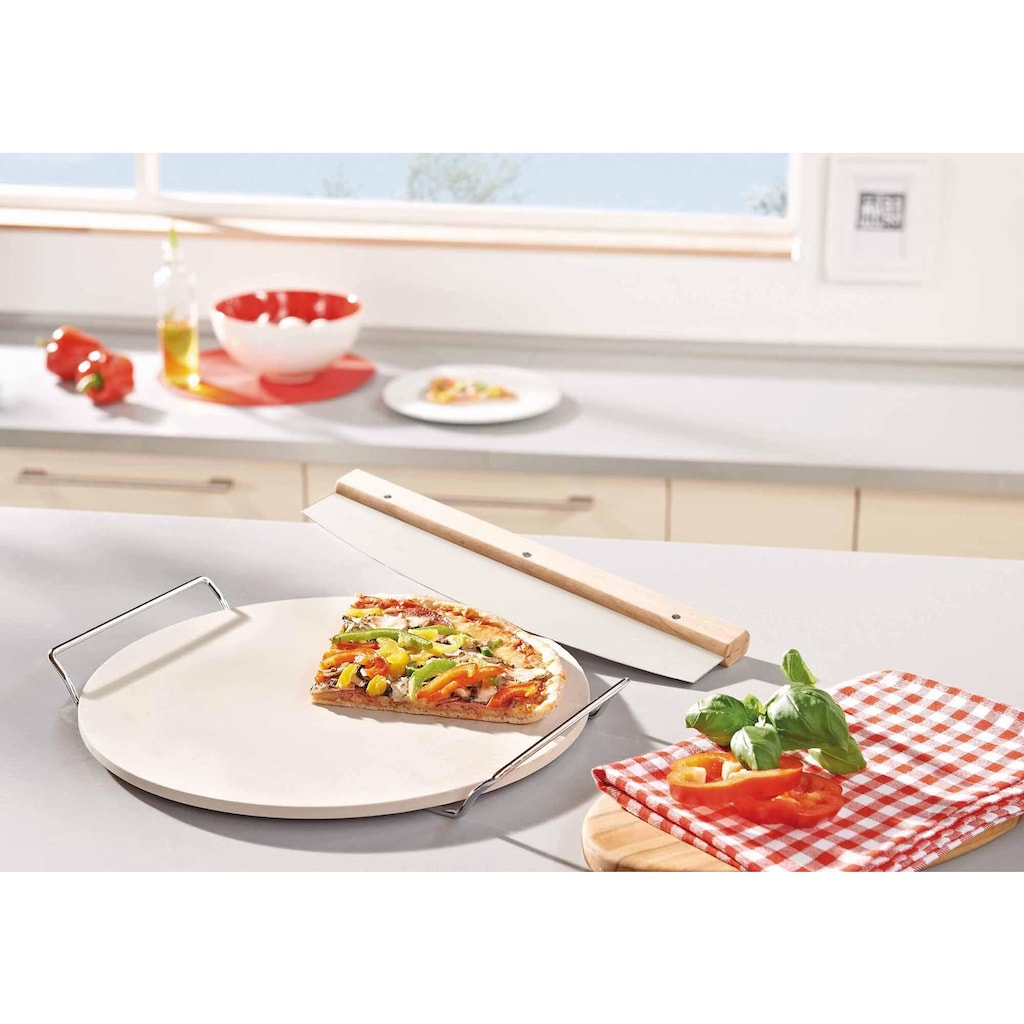 Leifheit Pizzastein, Keramik, (Set, 1x Pizzastein, 1x Wiegemesser)