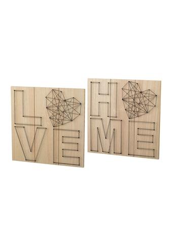 Creativ home Holzbild, (Set), Wanddeko, aus Holz, mit Schriftzug kaufen