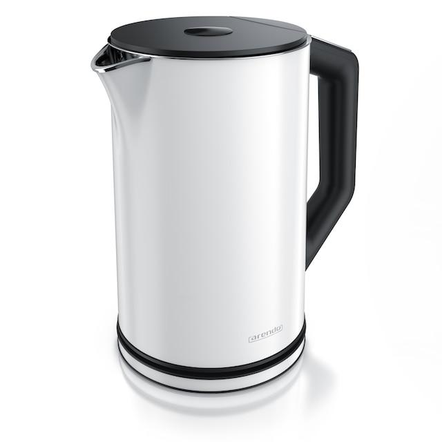 Arendo Edelstahl Wasserkocher mit Temperatureinstellung »ELEGANT 1,5 Liter in Weiß«