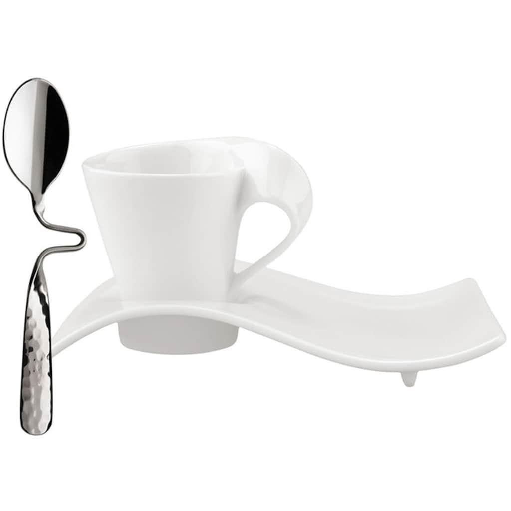 Villeroy & Boch Espressotasse »NewWave Caffè«, (Set, 3 tlg.), inkl. Edelstahllöffel zum Einhängen, 3-teilig