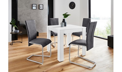 Homexperts Essgruppe »Nick1-Mulan«, (Set, 5 tlg.), mit 4 Stühlen, Tisch in weiß,... kaufen