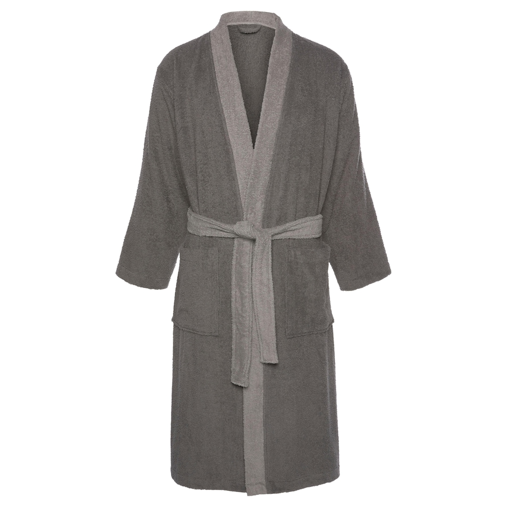 my home Unisex-Bademantel »Kim«, (1 St.), mit dezent farblich abgesetztem Kimonokragen