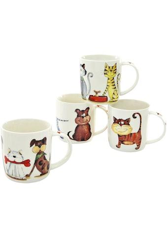 CreaTable Becher »Cats & Dogs«, (Set, 4 tlg.), lustige Vierbeiner als Motiv, 4-teilig kaufen