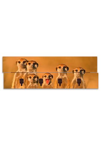 Artland Garderobenpaneel »Erdmännchen Familie«, platzsparende Wandgarderobe aus Holz... kaufen