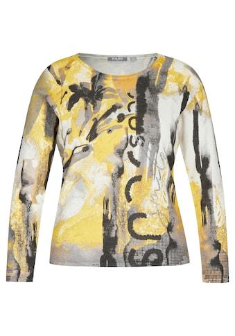 Rabe Rundhalspullover, mit abstraktem Muster und Glitzernieten kaufen