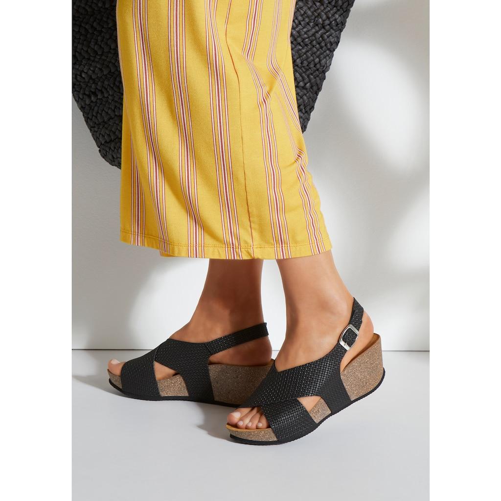 LASCANA Sandalette, mit Korkfußbett und Keilabsatz
