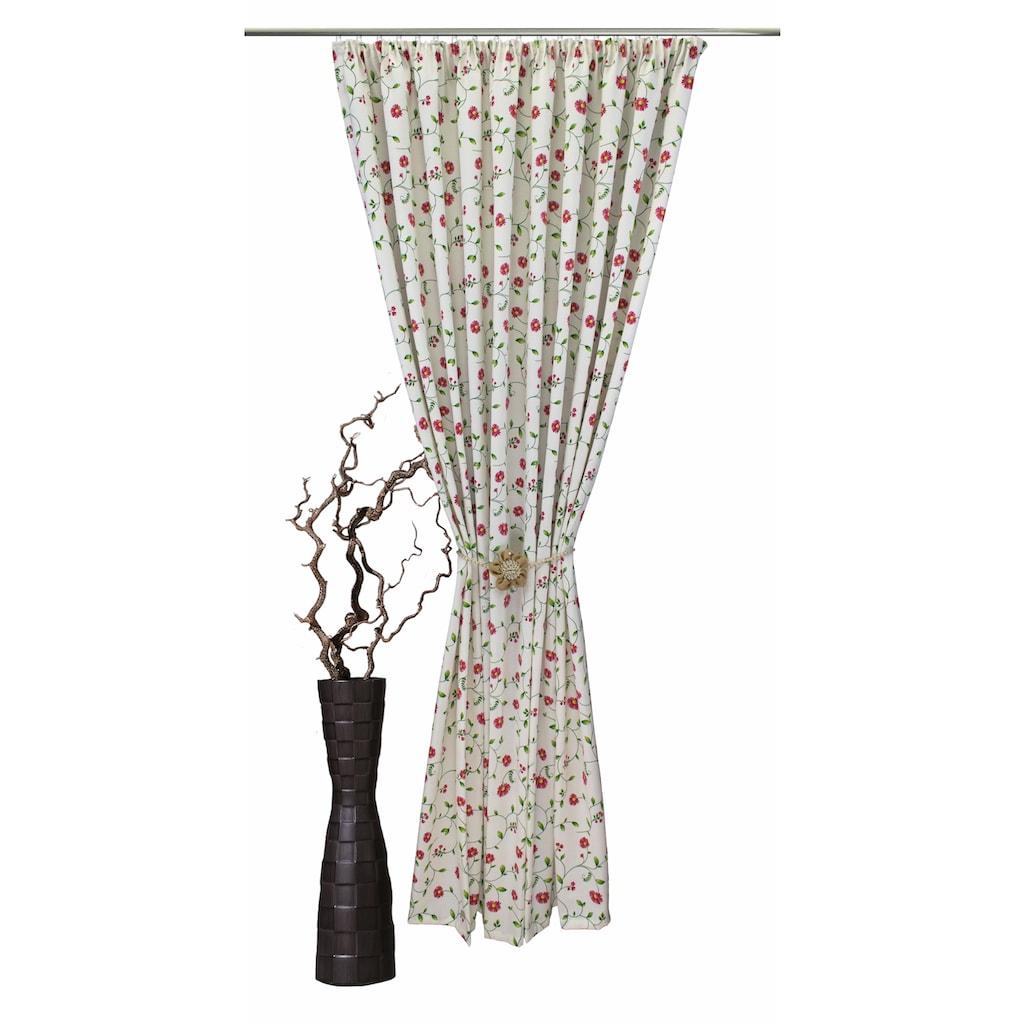 VHG Vorhang nach Maß »Kati«, Leinenoptik, Blumen, Ranke, Breite 150 cm