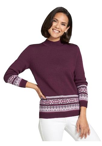 Classic Basics Pullover mit breiter Jacquard - Bordüre kaufen
