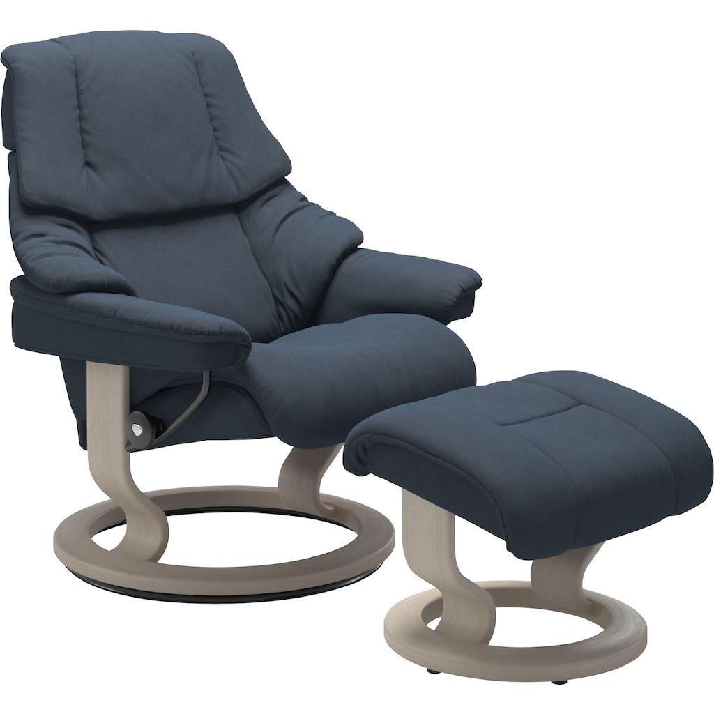 Stressless® Relaxsessel »Reno«, mit Hocker, mit Classic Base, Größe S, M & L, Gestell Whitewash